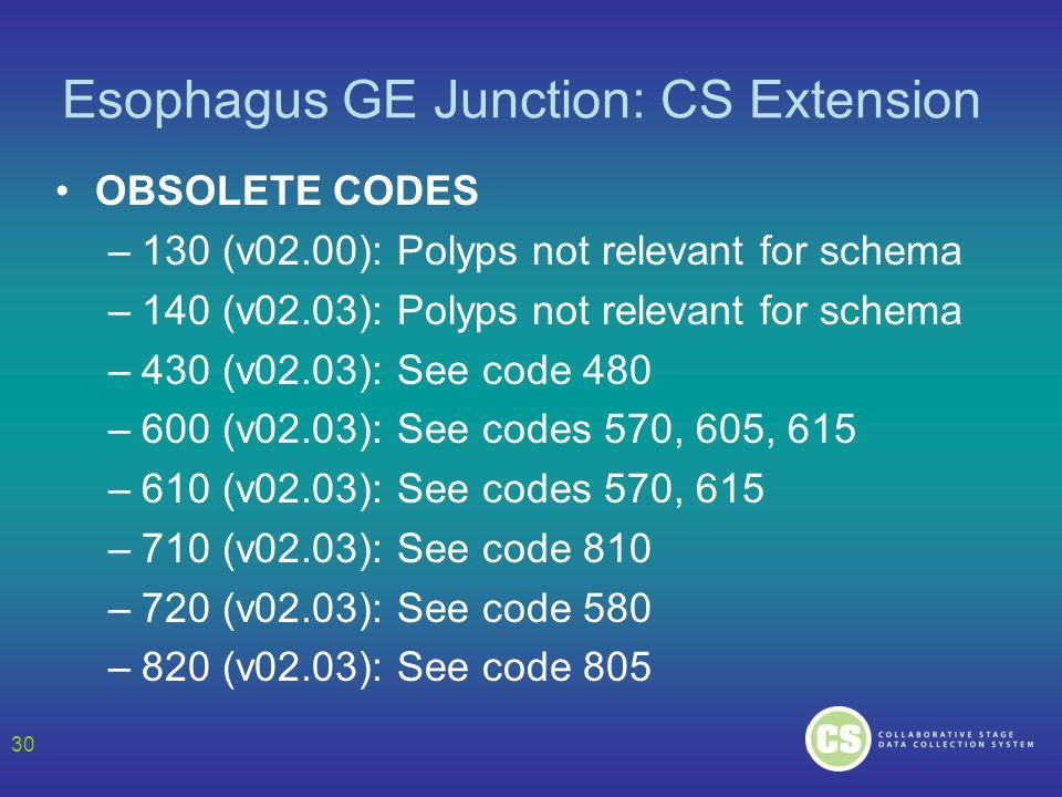 Esophagus GE Junction: CS Extension OBSOLETE CODES –130 (v02.00): Polyps not relevant for schema –140 (v02.03): Polyps not relevant for schema –430 (v