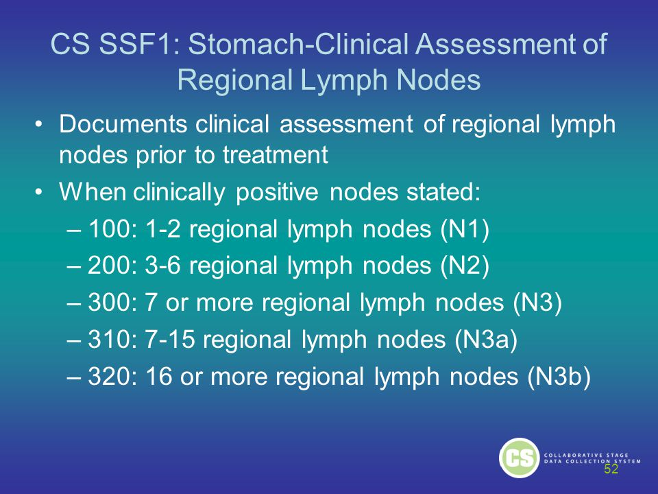CS SSF1: Stomach-Clinical Assessment of Regional Lymph Nodes Documents clinical assessment of regional lymph nodes prior to treatment When clinically