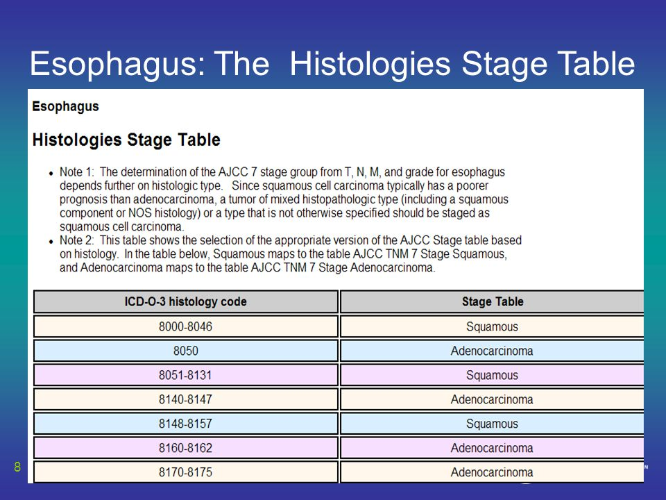 8 Esophagus: The Histologies Stage Table