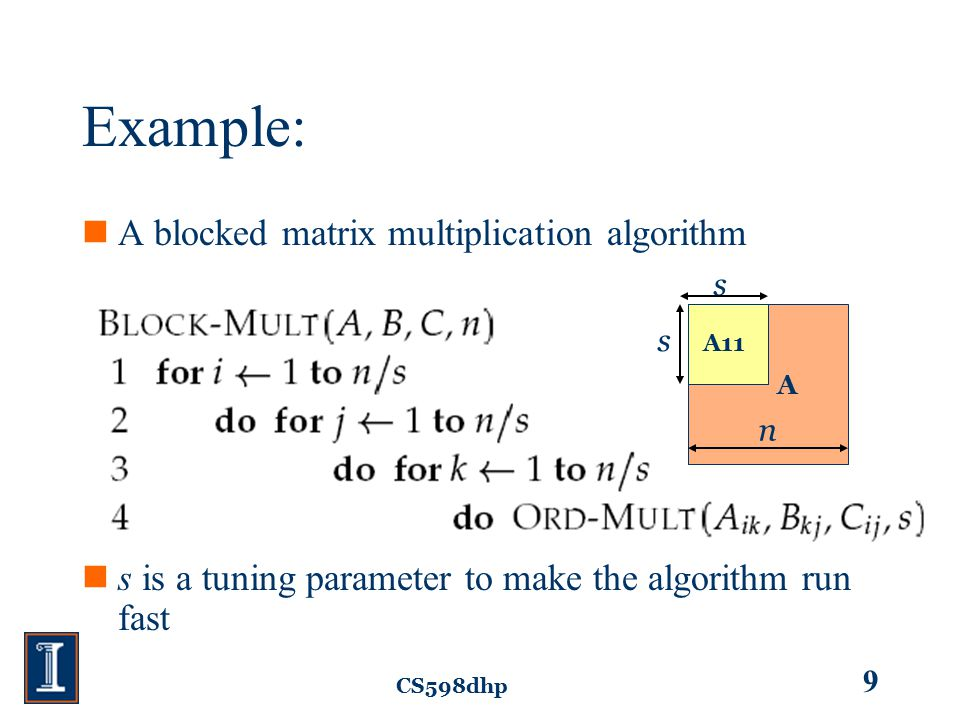 CS598dhp 9 Example: A blocked matrix multiplication algorithm s is a tuning parameter to make the algorithm run fast A11 s s n A