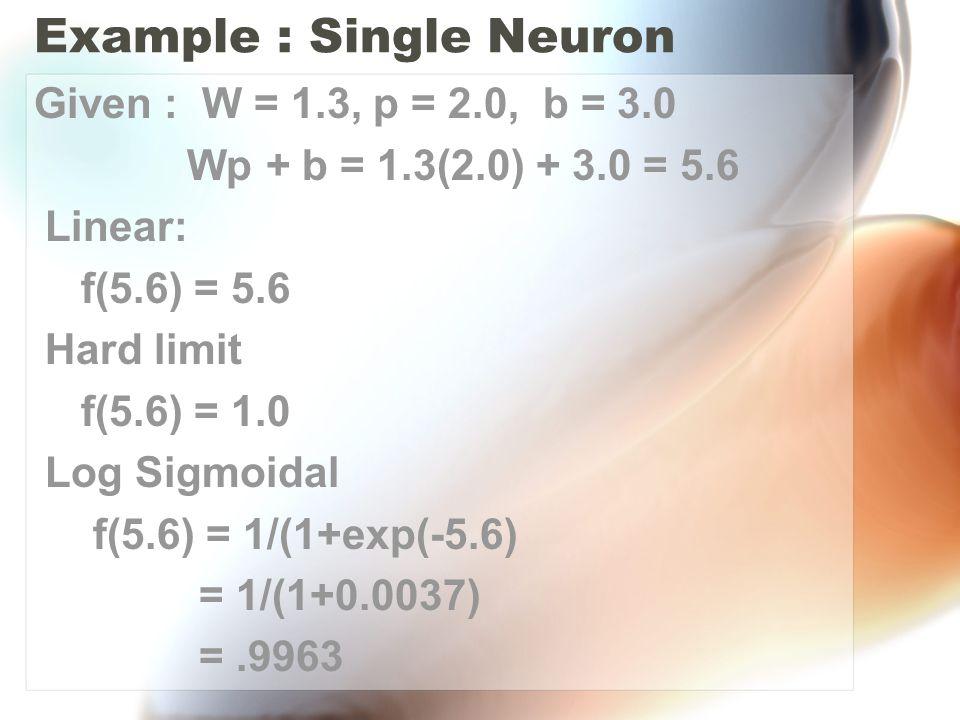 Example : Single Neuron Given : W = 1.3, p = 2.0, b = 3.0 Wp + b = 1.3(2.0) + 3.0 = 5.6 Linear: f(5.6) = 5.6 Hard limit f(5.6) = 1.0 Log Sigmoidal f(5.6) = 1/(1+exp(-5.6) = 1/(1+0.0037) =.9963