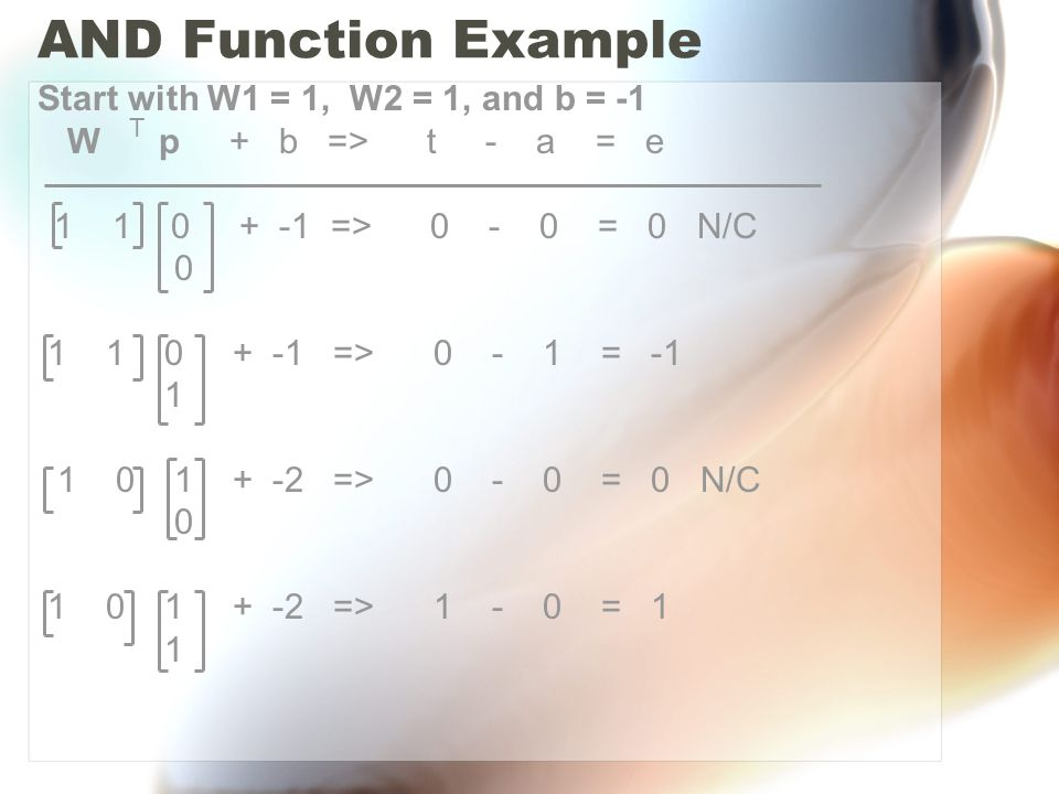 AND Function Example Start with W1 = 1, W2 = 1, and b = -1 W p + b => t - a = e 1 1 0 + -1 => 0 - 0 = 0 N/C 0 1 1 0 + -1 => 0 - 1 = -1 1 1 0 1 + -2 => 0 - 0 = 0 N/C 0 1 0 1 + -2 => 1 - 0 = 1 1 T