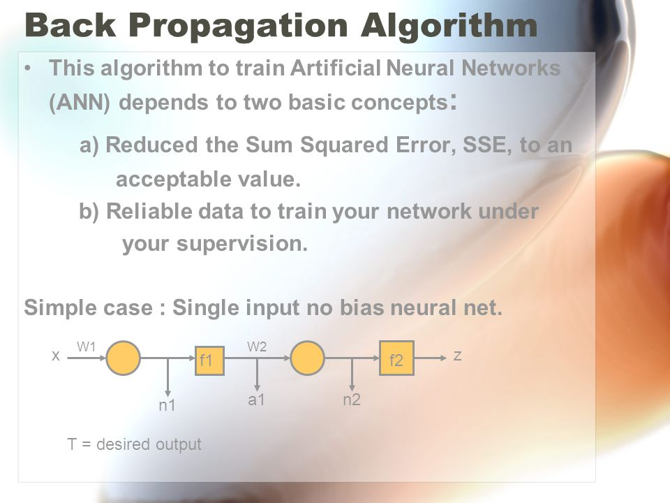 Back Propagation Algorithm This algorithm to train Artificial Neural Networks (ANN) depends to two basic concepts : a) Reduced the Sum Squared Error, SSE, to an acceptable value.