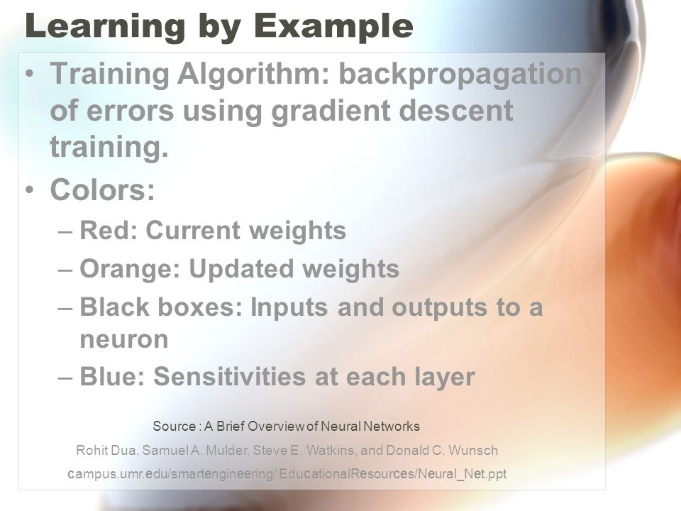 Learning by Example Training Algorithm: backpropagation of errors using gradient descent training.