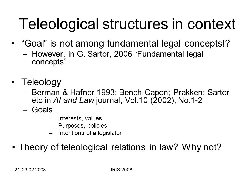 6. Teleological Networks and Legal Knowledge Representation