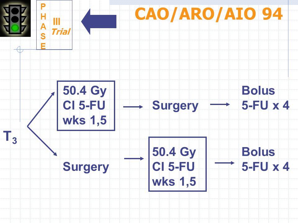 50.4 GyBolus CI 5-FUSurgery5-FU x 4 wks 1,5 T 3 50.4 GyBolus SurgeryCI 5-FU5-FU x 4 wks 1,5 PHASEPHASE III CAO/ARO/AIO 94 Trial