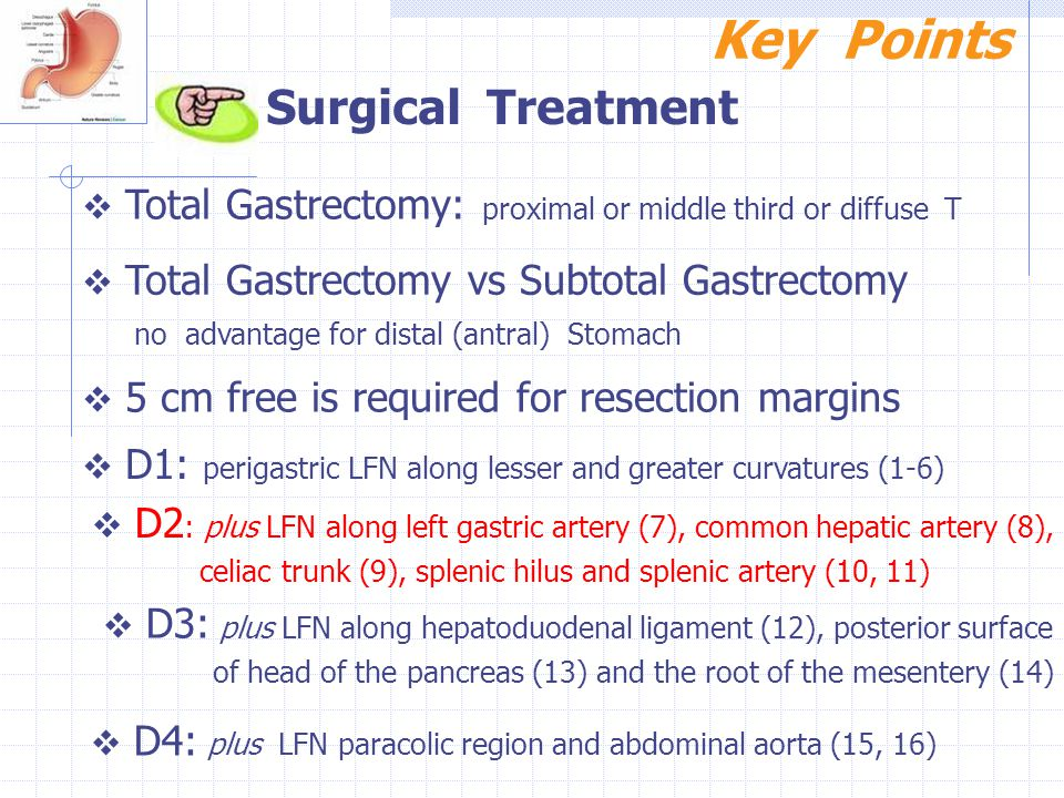 Key Points Surgical Treatment  Total Gastrectomy: proximal or middle third or diffuse T  Total Gastrectomy vs Subtotal Gastrectomy no advantage for