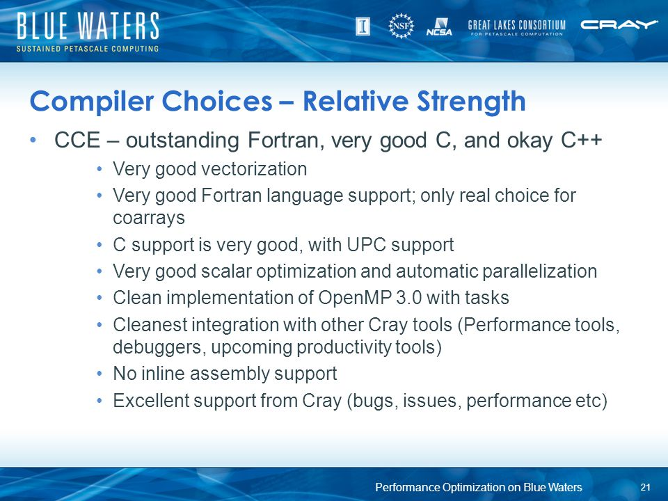 Compiler Choices – Relative Strength CCE – outstanding Fortran, very good C, and okay C++ Very good vectorization Very good Fortran language support;