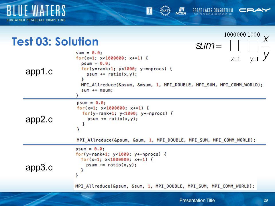 Test 03: Solution 29 Presentation Title app1.c app2.c app3.c