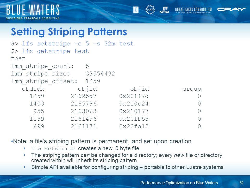 Setting Striping Patterns $> lfs setstripe -c 5 -s 32m test $> lfs getstripe test test lmm_stripe_count: 5 lmm_stripe_size: 33554432 lmm_stripe_offset
