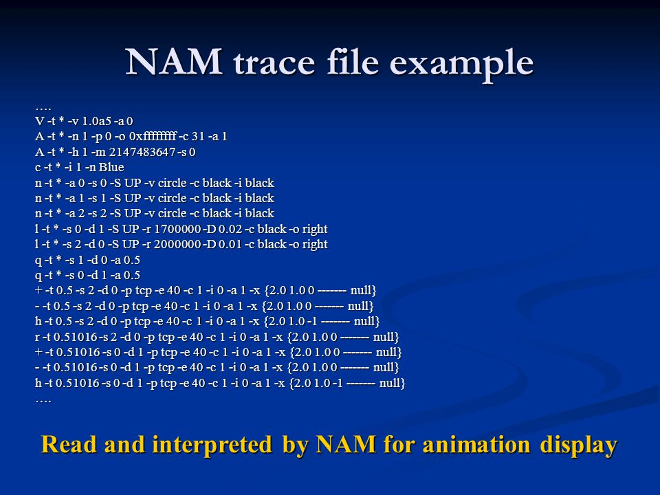 NAM trace file example ….