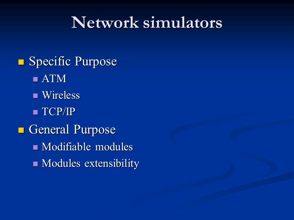 Network simulators Specific Purpose Specific Purpose ATM ATM Wireless Wireless TCP/IP TCP/IP General Purpose General Purpose Modifiable modules Modifi