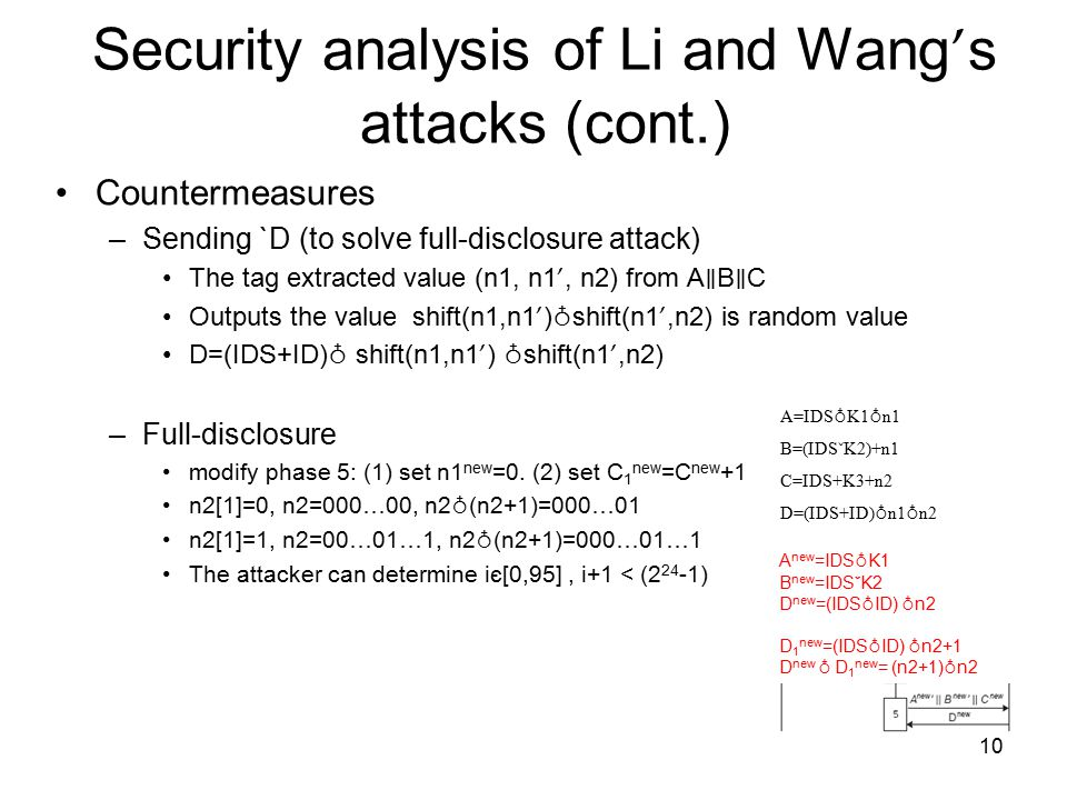 10 Security analysis of Li and Wang ' s attacks (cont.) Countermeasures –Sending `D (to solve full-disclosure attack) The tag extracted value (n1, n1 ', n2) from A ∥ B ∥ C Outputs the value shift(n1,n1 ' ) ♁ shift(n1 ',n2) is random value D=(IDS+ID) ♁ shift(n1,n1 ' ) ♁ shift(n1 ',n2) –Full-disclosure modify phase 5: (1) set n1 new =0.