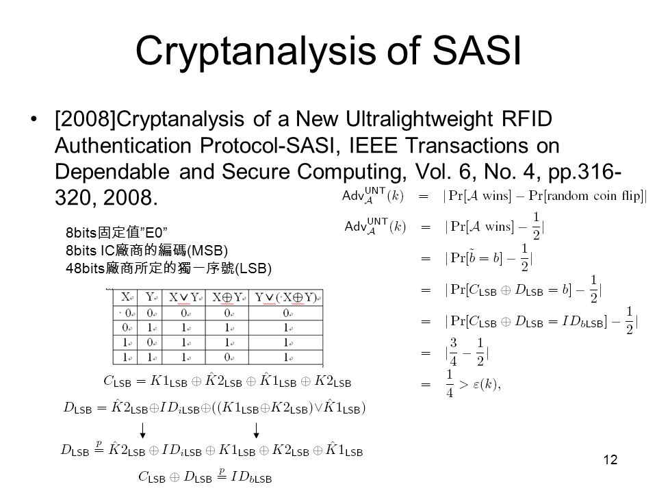 12 Cryptanalysis of SASI [2008]Cryptanalysis of a New Ultralightweight RFID Authentication Protocol-SASI, IEEE Transactions on Dependable and Secure Computing, Vol.
