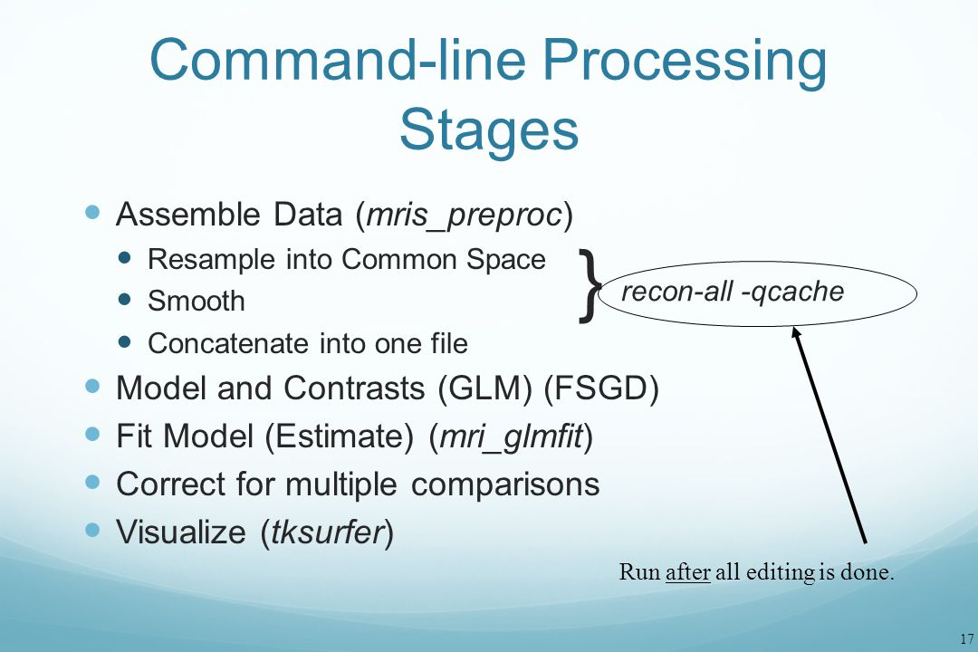 17 Command-line Processing Stages Assemble Data (mris_preproc) Resample into Common Space Smooth Concatenate into one file Model and Contrasts (GLM) (