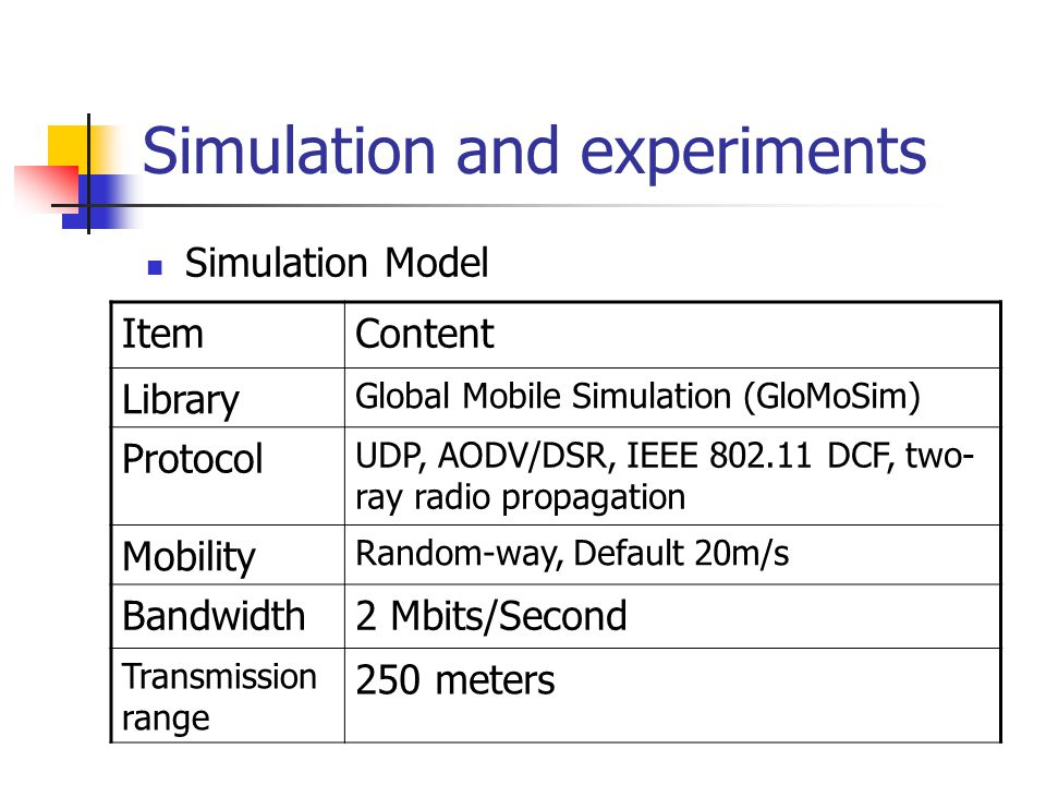 Simulation and experiments Simulation Model ItemContent Library Global Mobile Simulation (GloMoSim) Protocol UDP, AODV/DSR, IEEE 802.11 DCF, two- ray radio propagation Mobility Random-way, Default 20m/s Bandwidth2 Mbits/Second Transmission range 250 meters