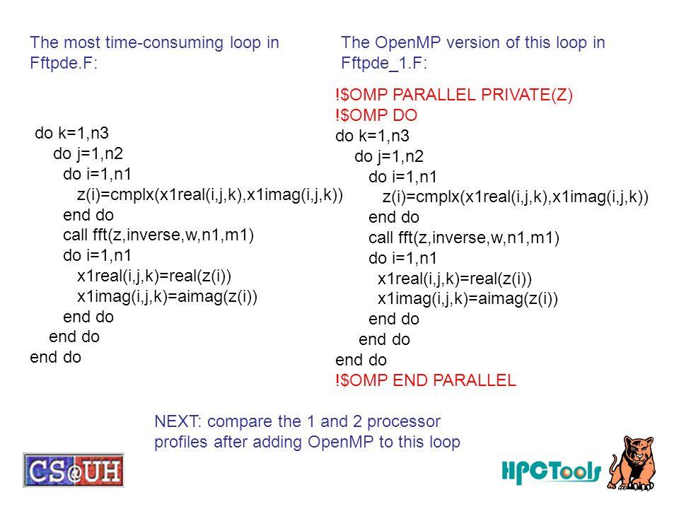 do k=1,n3 do j=1,n2 do i=1,n1 z(i)=cmplx(x1real(i,j,k),x1imag(i,j,k)) end do call fft(z,inverse,w,n1,m1) do i=1,n1 x1real(i,j,k)=real(z(i)) x1imag(i,j