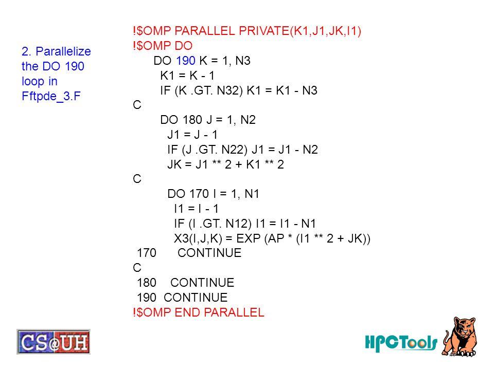 !$OMP PARALLEL PRIVATE(K1,J1,JK,I1) !$OMP DO DO 190 K = 1, N3 K1 = K - 1 IF (K.GT. N32) K1 = K1 - N3 C DO 180 J = 1, N2 J1 = J - 1 IF (J.GT. N22) J1 =