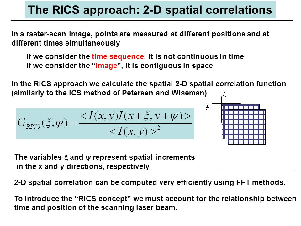 In a raster-scan image, points are measured at different positions and at different times simultaneously If we consider the time sequence, it is not continuous in time If we consider the image , it is contiguous in space In the RICS approach we calculate the spatial 2-D spatial correlation function (similarly to the ICS method of Petersen and Wiseman) The variables  and  represent spatial increments in the x and y directions, respectively 2-D spatial correlation can be computed very efficiently using FFT methods.