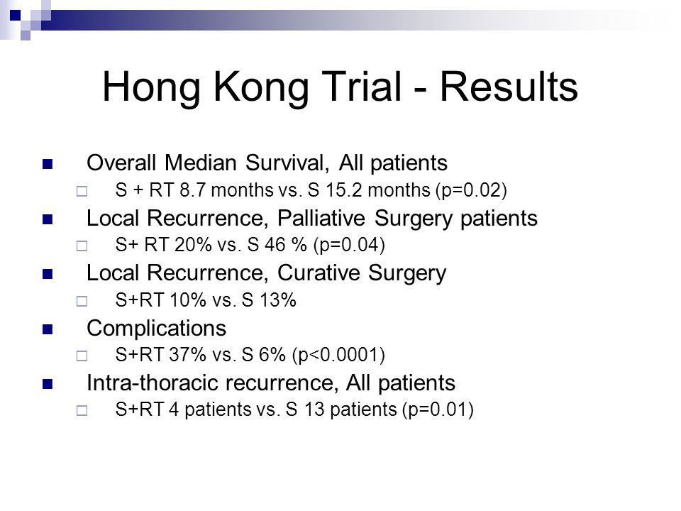 Hong Kong Trial - Results Overall Median Survival, All patients  S + RT 8.7 months vs.
