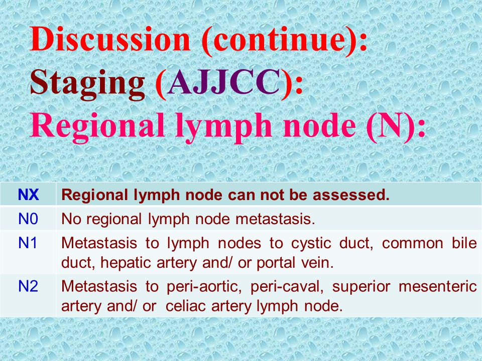 Discussion (continue): Staging (AJJCC): Regional lymph node (N): NXRegional lymph node can not be assessed. N0No regional lymph node metastasis. N1Met