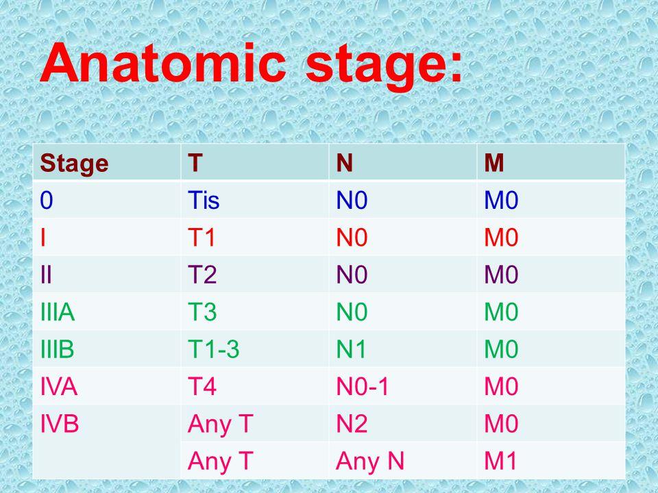 Anatomic stage: StageTNM 0TisN0M0 IT1N0M0 IIT2N0M0 IIIAT3N0M0 IIIBT1-3N1M0 IVAT4N0-1M0 IVBAny TN2M0 Any TAny NM1