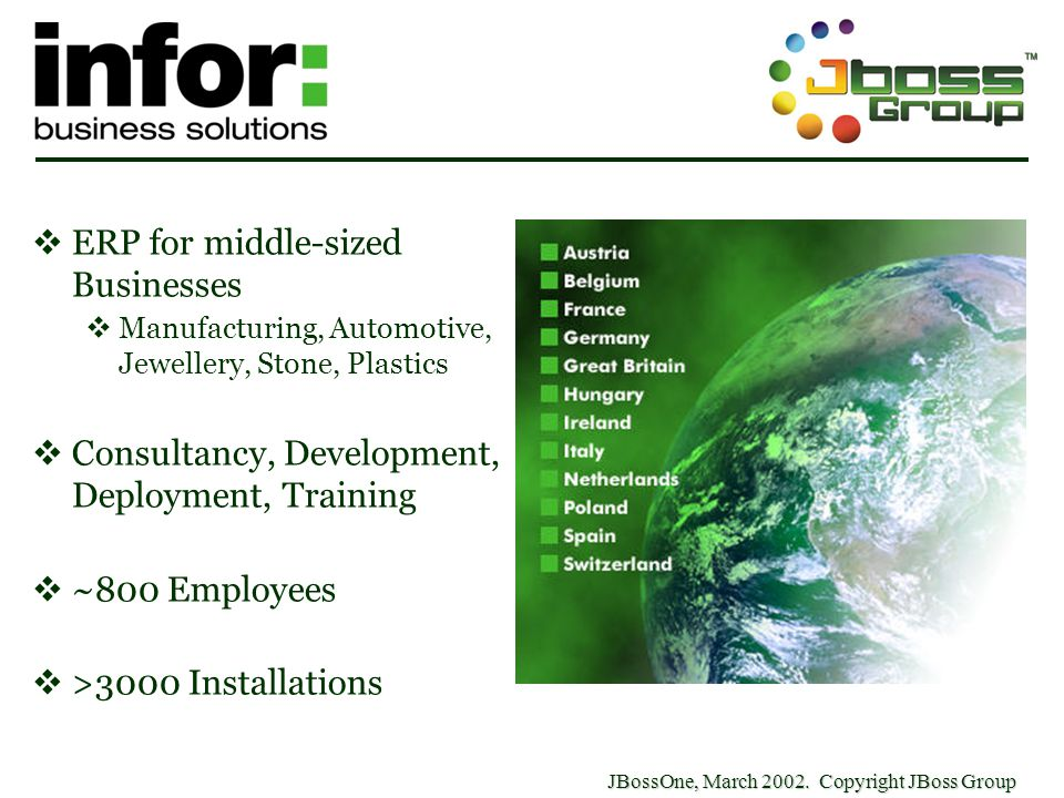 JBossOne, March 2002. Copyright JBoss Group  ERP for middle-sized Businesses  Manufacturing, Automotive, Jewellery, Stone, Plastics  Consultancy, D