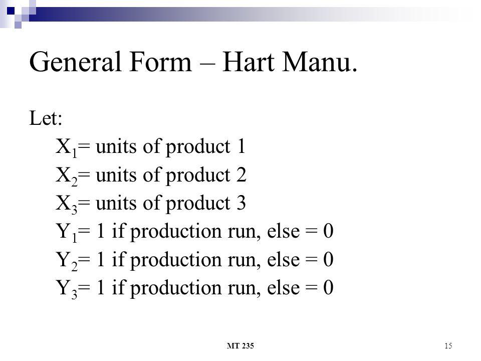MT 23515 General Form – Hart Manu. Let: X 1 = units of product 1 X 2 = units of product 2 X 3 = units of product 3 Y 1 = 1 if production run, else = 0