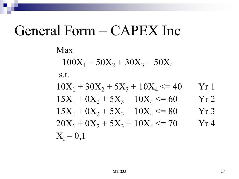 MT 23527 General Form – CAPEX Inc Max 100X 1 + 50X 2 + 30X 3 + 50X 4 s.t. 10X 1 + 30X 2 + 5X 3 + 10X 4 <= 40 Yr 1 15X 1 + 0X 2 + 5X 3 + 10X 4 <= 60 Yr