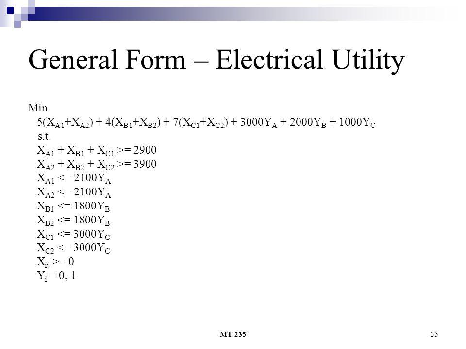 MT 23535 General Form – Electrical Utility Min 5(X A1 +X A2 ) + 4(X B1 +X B2 ) + 7(X C1 +X C2 ) + 3000Y A + 2000Y B + 1000Y C s.t. X A1 + X B1 + X C1