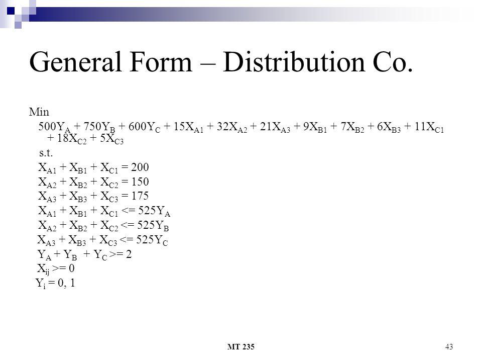 MT 23543 General Form – Distribution Co. Min 500Y A + 750Y B + 600Y C + 15X A1 + 32X A2 + 21X A3 + 9X B1 + 7X B2 + 6X B3 + 11X C1 + 18X C2 + 5X C3 s.t