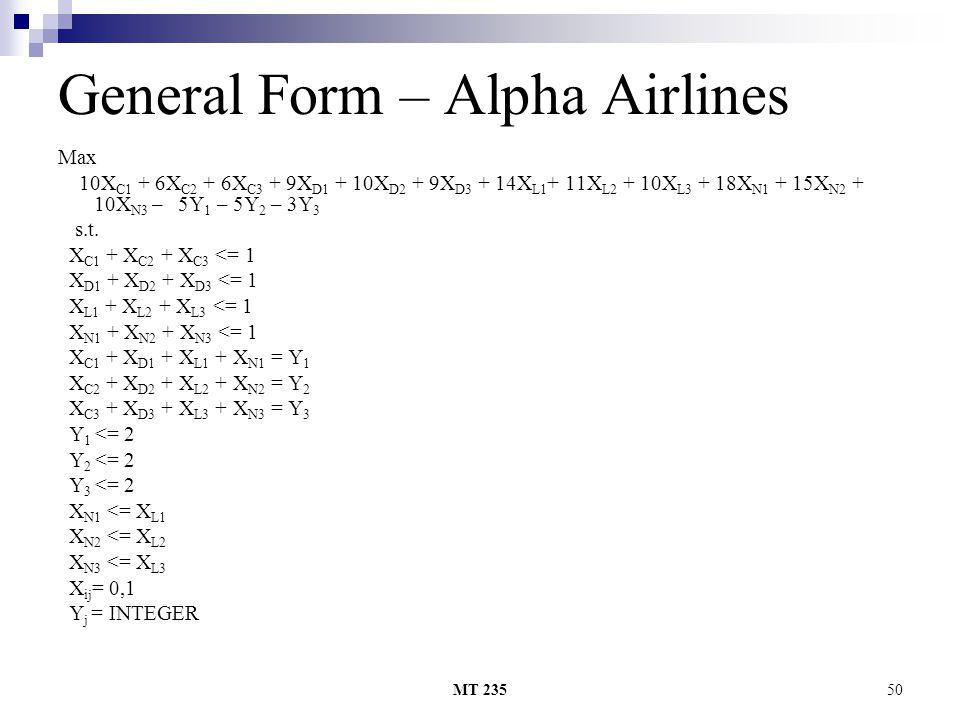 MT 23550 General Form – Alpha Airlines Max 10X C1 + 6X C2 + 6X C3 + 9X D1 + 10X D2 + 9X D3 + 14X L1 + 11X L2 + 10X L3 + 18X N1 + 15X N2 + 10X N3 – 5Y