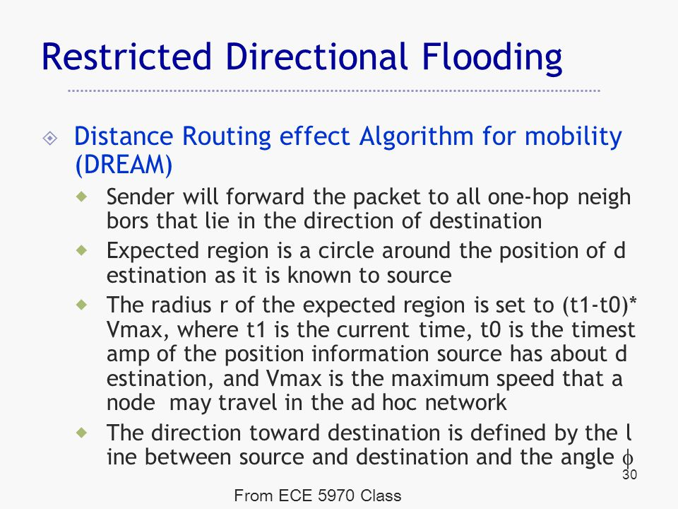 Restricted Directional Flooding  Distance Routing effect Algorithm for mobility (DREAM)  Sender will forward the packet to all one-hop neigh bors that lie in the direction of destination  Expected region is a circle around the position of d estination as it is known to source  The radius r of the expected region is set to (t1-t0)* Vmax, where t1 is the current time, t0 is the timest amp of the position information source has about d estination, and Vmax is the maximum speed that a node may travel in the ad hoc network  The direction toward destination is defined by the l ine between source and destination and the angle  30 From ECE 5970 Class