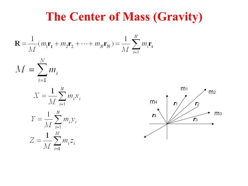 The Center of Mass (Gravity) m1m1 m4m4 m2m2 m3m3 r1r1 r2r2 r3r3 r4r4