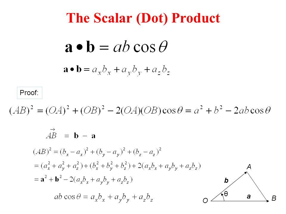 The Scalar (Dot) Product Proof: θ a b O B A