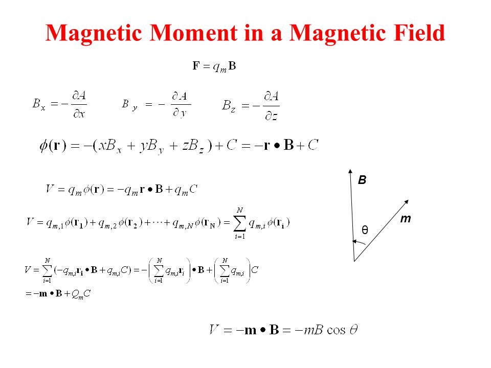 Magnetic Moment in a Magnetic Field θ m B