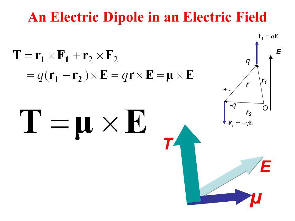 An Electric Dipole in an Electric Field r E -q q r1r1 r2r2 O μ E T