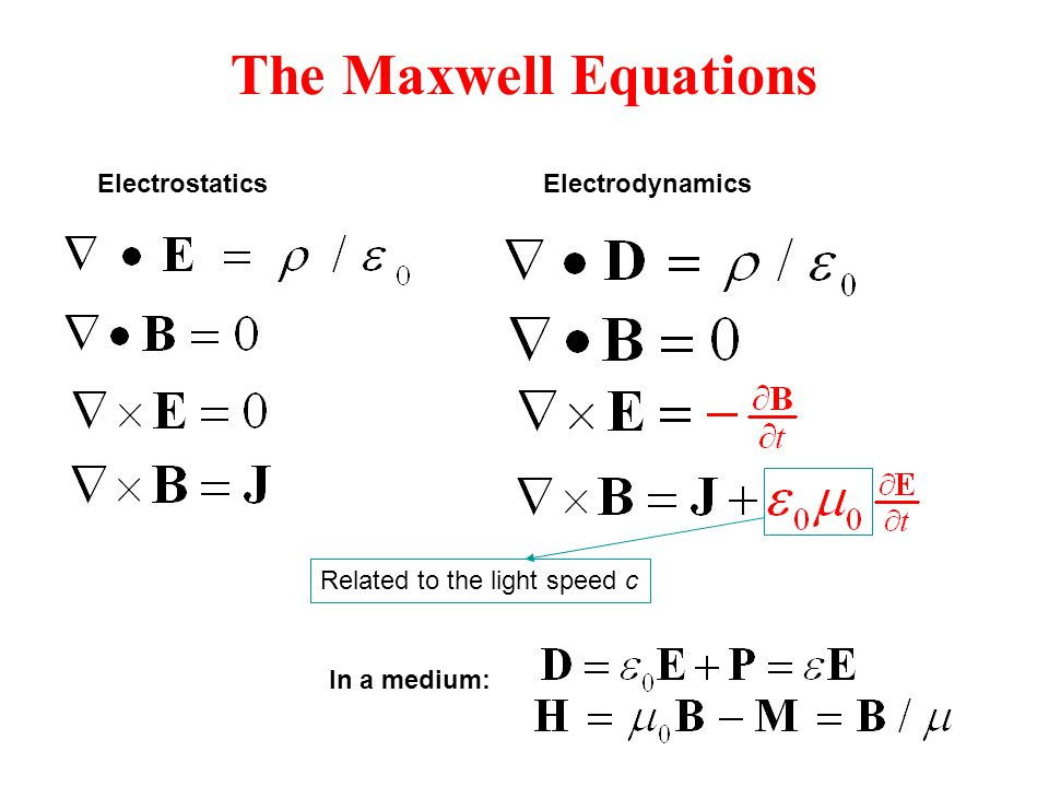 The Maxwell Equations Related to the light speed c ElectrostaticsElectrodynamics In a medium: