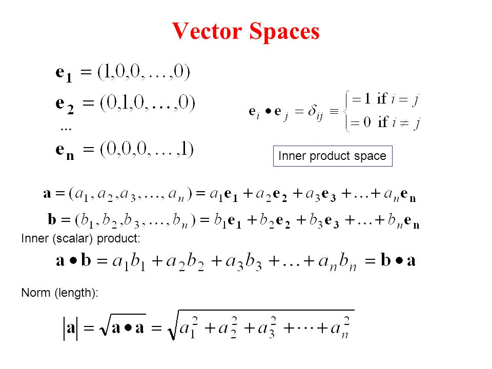 Vector Spaces … Norm (length): Inner (scalar) product: Inner product space