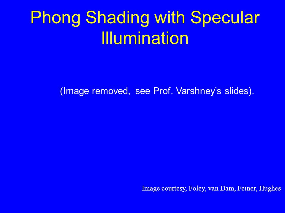 Phong Shading with Specular Illumination Image courtesy, Foley, van Dam, Feiner, Hughes (Image removed, see Prof.