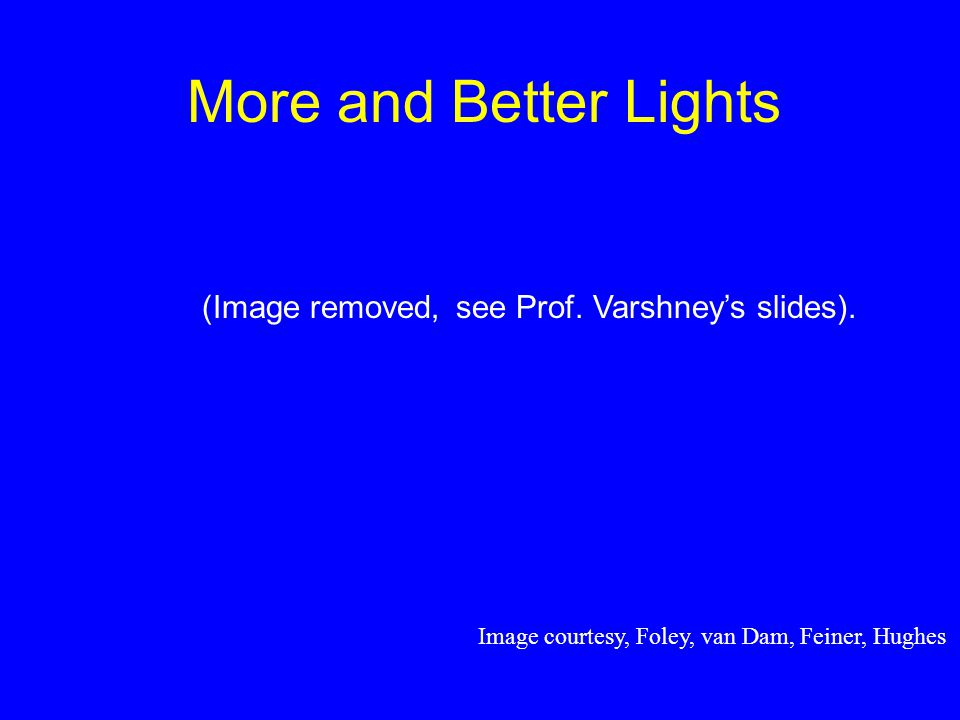 More and Better Lights Image courtesy, Foley, van Dam, Feiner, Hughes (Image removed, see Prof.
