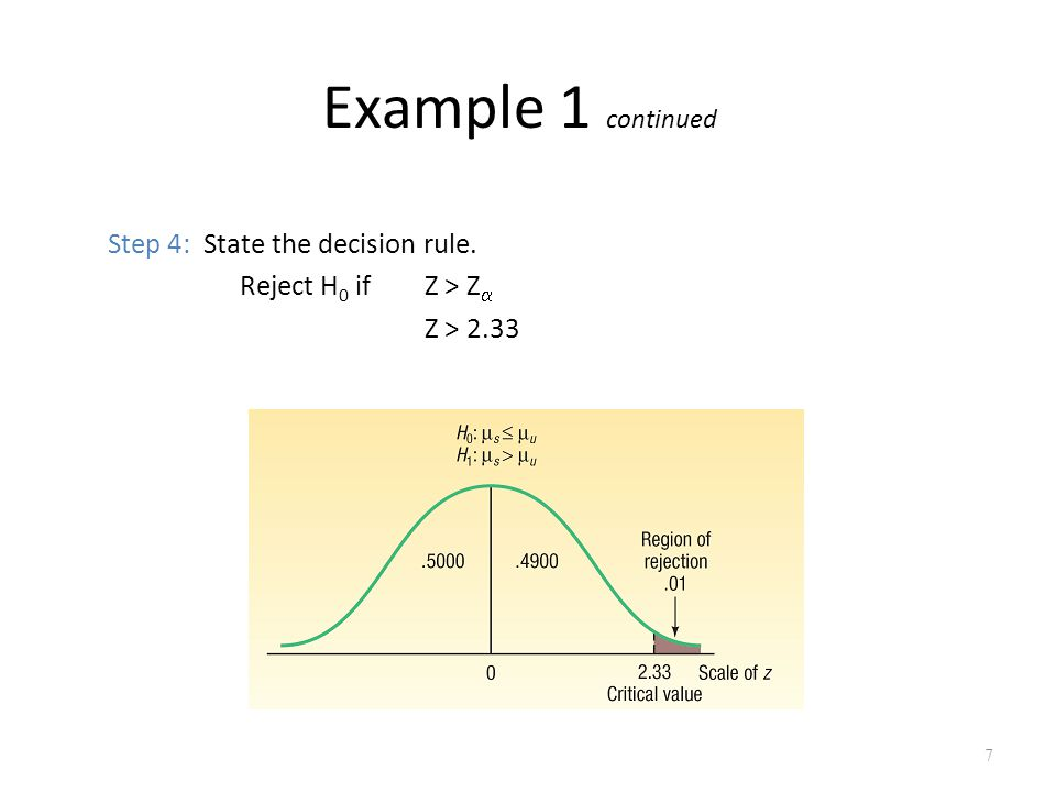 Example 1 continued Step 4: State the decision rule. Reject H 0 ifZ > Z  Z > 2.33 7