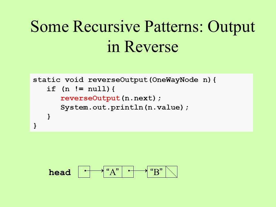 static void reverseOutput(OneWayNode n){ if (n != null){ reverseOutput(n.next); System.out.println(n.value); } Some Recursive Patterns: Output in Reverse A A B B head