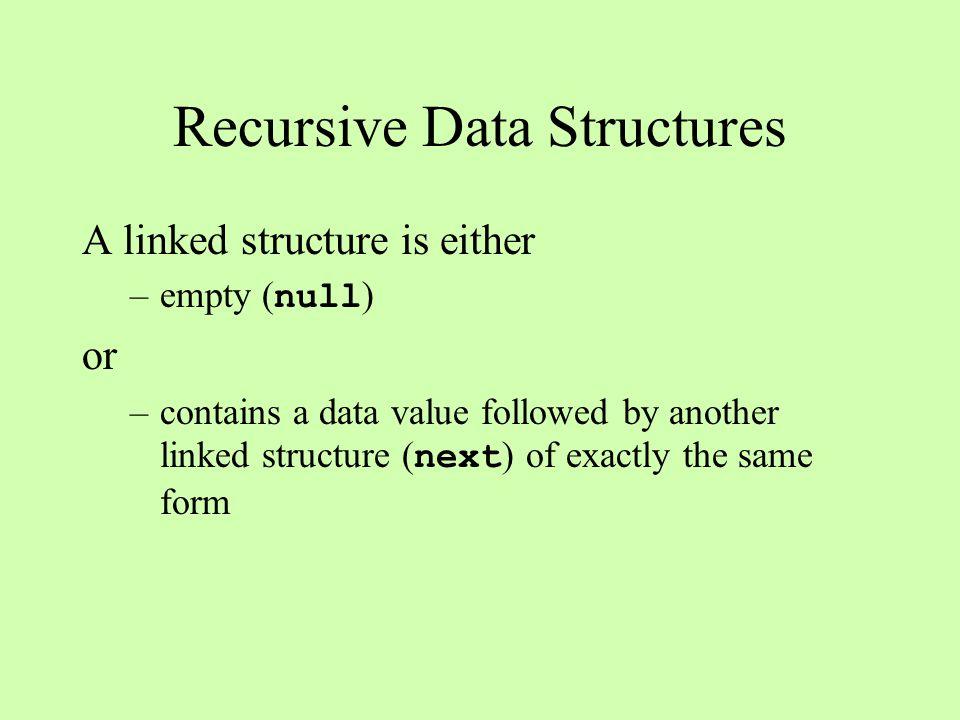 static int length(OneWayNode n){ if (n == null) return 0; else return 1 + length(n.next); } Some Recursive Patterns: length A A B B head