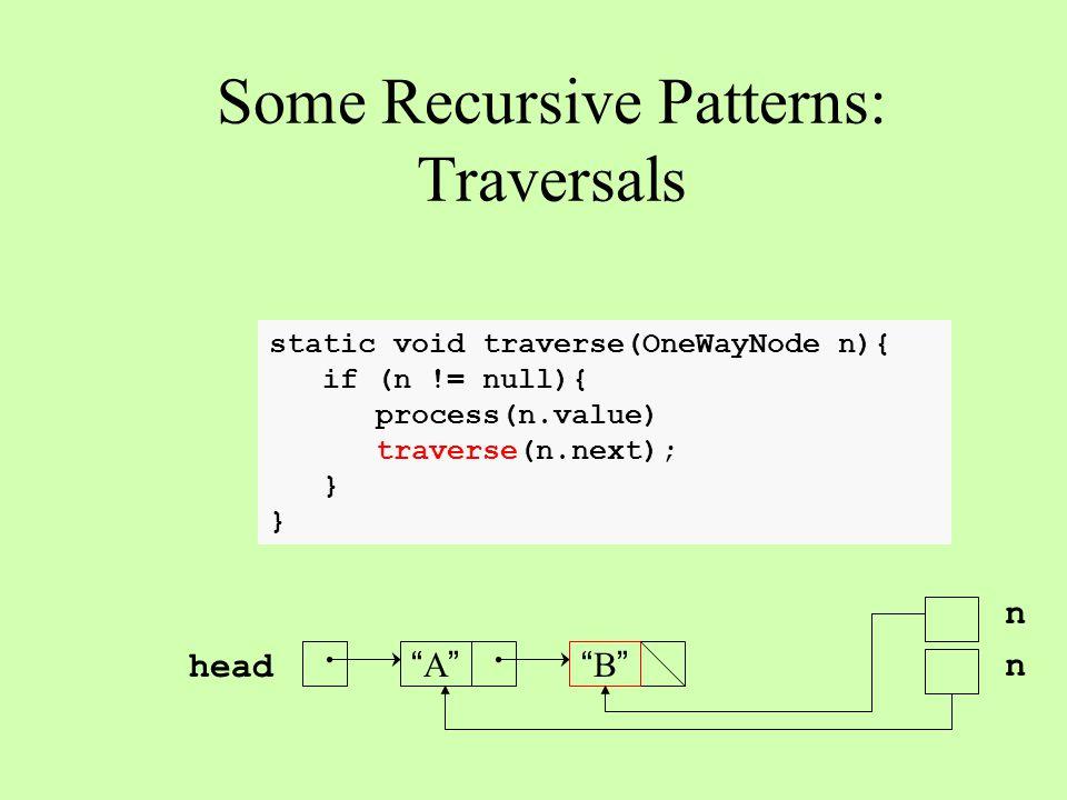 static void traverse(OneWayNode n){ if (n != null){ process(n.value) traverse(n.next); } Some Recursive Patterns: Traversals A A B B head n n n