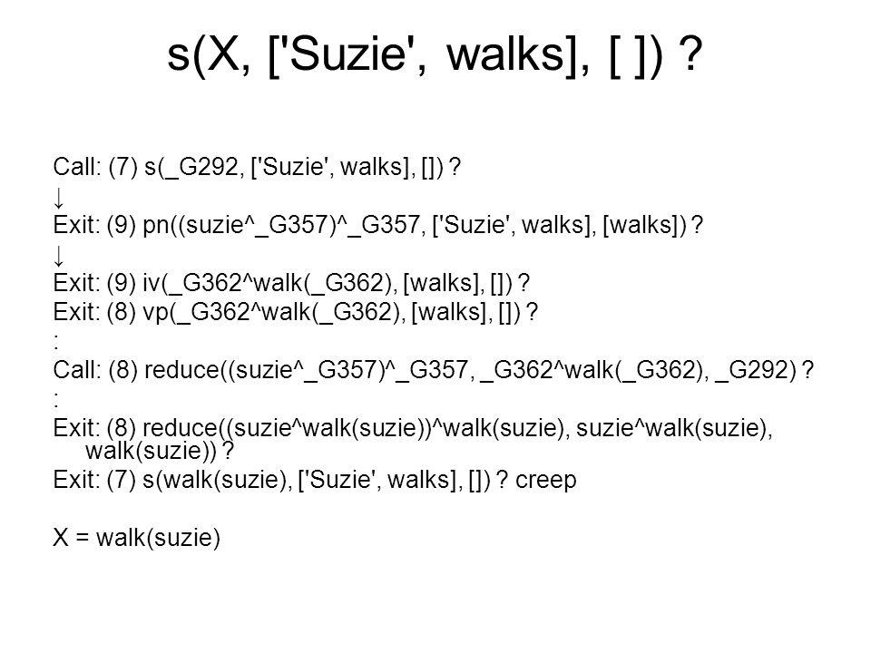 s(X, ['Suzie', walks], [ ]) ? Call: (7) s(_G292, ['Suzie', walks], []) ? ↓ Exit: (9) pn((suzie^_G357)^_G357, ['Suzie', walks], [walks]) ? ↓ Exit: (9)