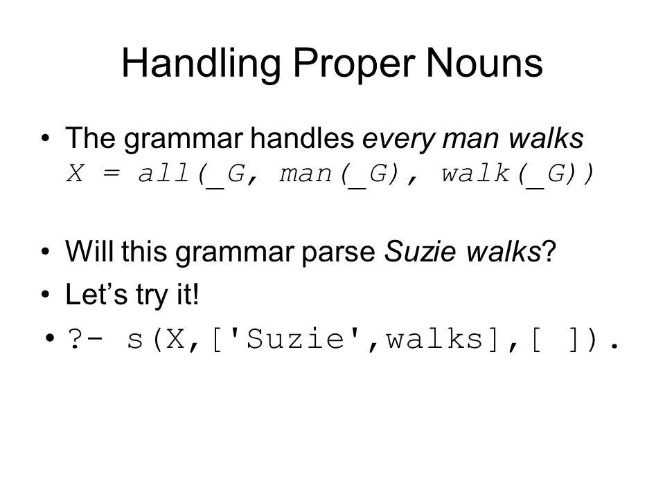 Handling Proper Nouns The grammar handles every man walks X = all(_G, man(_G), walk(_G)) Will this grammar parse Suzie walks? Let's try it! ?- s(X,['S