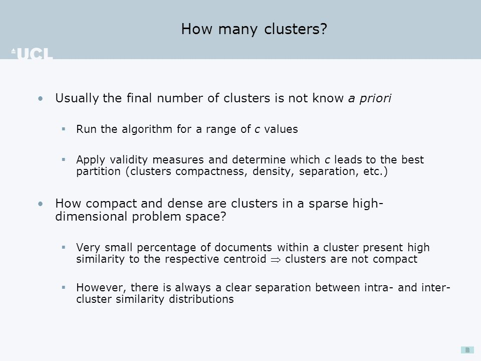 How many clusters.