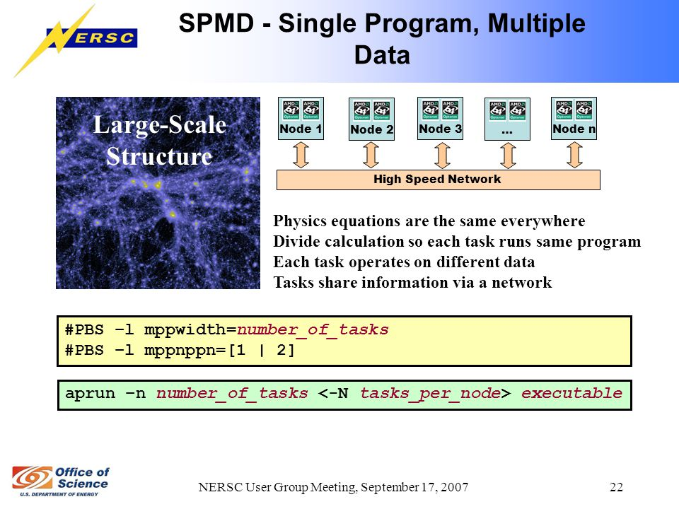 NERSC User Group Meeting, September 17, 2007 22 SPMD - Single Program, Multiple Data Large-Scale Structure aprun –n number_of_tasks executable #PBS –l mppwidth=number_of_tasks #PBS –l mppnppn=[1 | 2] High Speed Network Physics equations are the same everywhere Divide calculation so each task runs same program Each task operates on different data Tasks share information via a network Node 3 Node 2 Node 1 … Node n