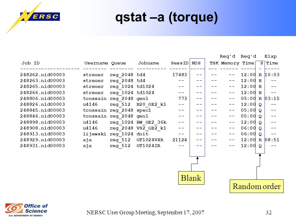 NERSC User Group Meeting, September 17, 2007 32 qstat –a (torque) Req d Req d Elap Job ID Username Queue Jobname SessID NDS TSK Memory Time S Time -------------------- -------- -------- ---------- ------ ----- --- ------ ----- - ----- 248262.nid00003 streuer reg_2048 td4 17483 -- -- -- 12:00 R 10:03 248263.nid00003 streuer reg_2048 td4 -- -- -- -- 12:00 H -- 248265.nid00003 streuer reg_1024 td1024 -- -- -- -- 12:00 H -- 248266.nid00003 streuer reg_1024 td1024 -- -- -- -- 12:00 H -- 248806.nid00003 toussain reg_2048 gen1 773 -- -- -- 05:00 R 03:15 248826.nid00003 u4146 reg_512 B20_GE2_k1 -- -- -- -- 12:00 Q -- 248845.nid00003 toussain reg_2048 spec1 -- -- -- -- 05:00 Q -- 248846.nid00003 toussain reg_2048 gen1 -- -- -- -- 05:00 Q -- 248898.nid00003 u4146 reg_1024 BW_GE2_36k -- -- -- -- 12:00 Q -- 248908.nid00003 u4146 reg_2048 VS2_GE2_k1 -- -- -- -- 06:00 Q -- 248913.nid00003 lijewski reg_1024 doit -- -- -- -- 06:00 Q -- 248929.nid00003 aja reg_512 GT1024V4R 21124 -- -- -- 12:00 R 08:51 248931.nid00003 aja reg_512 GT1024IR -- -- -- -- 12:00 Q -- Random order Blank